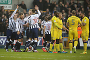 Millwall players celebrating after Millwall striker Aiden O'Brien (22) scored 0-1 during the EFL Sky Bet League 1 match between Millwall and Bristol Rovers at The Den, London, England on 12 November 2016. Photo by Matthew Redman.