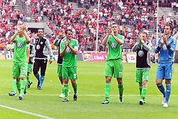 06.08.2011,  Rhein Energie Stadion, Koeln, GER, 1.FBL, 1. FC Koeln vs Vfl Wolfsburg, im Bild.Jubel Wolfsburg nach dem Sieg in Köln..// during the 1.FBL, 1. FC Koeln vs Vfl Wolfsburg on 2011/08/06, Rhein-Energie Stadion, Köln, Germany. EXPA Pictures © 2011, PhotoCredit: EXPA/ nph/  Mueller *** Local Caption ***       ****** out of GER / CRO  / BEL ******