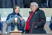 HRH The Princess Royal jokes with Welsh rugby President, Dennis Gethin before the Guinness Six Nations match between Scotland and Wales at BT Murrayfield Stadium, Edinburgh, Scotland on 9 March 2019.