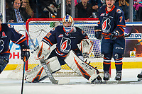 KELOWNA, BC - FEBRUARY 23: Dylan Ferguson #31 of the Kamloops Blazers defends the net against the Kelowna Rockets at Prospera Place on February 23, 2019 in Kelowna, Canada. (Photo by Marissa Baecker/Getty Images)