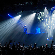 March 28, 2012 - New York, NY : British dubstep music producers (DJ's) Skream (center left with outstretched arm) & Benga (center right) perform at the Best Buy Theater in Manhattan on Wednesday evening. CREDIT: Karsten Moran for The New York Times