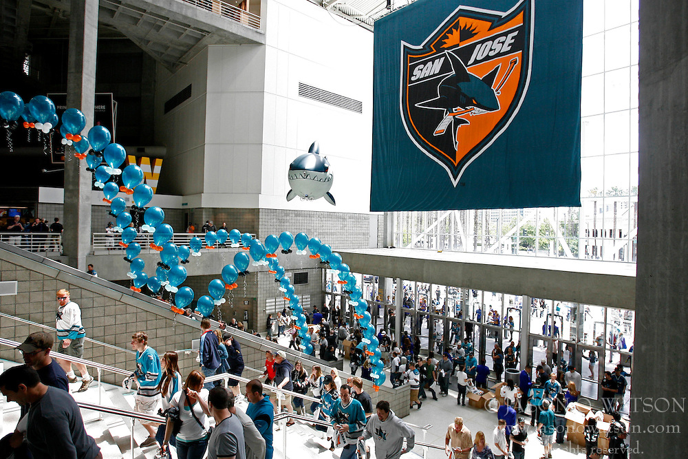 May 22, 2011; San Jose, CA, USA; Fans enter HP Pavilion before game four of the western conference finals of the 2011 Stanley Cup playoffs between the San Jose Sharks and the Vancouver Canucks. Mandatory Credit: Jason O. Watson / US PRESSWIRE