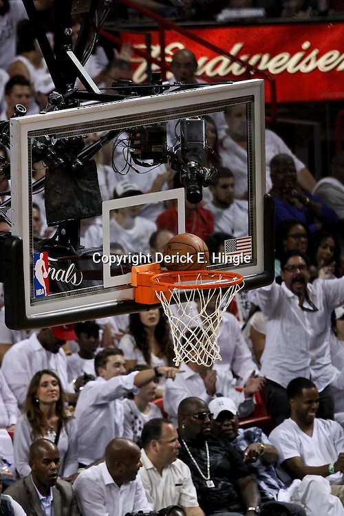 Jun 21, 2012; Miami, FL, USA; A ball gets stuck to the rim after a shot during the first quarter in game five in the 2012 NBA Finals between the Oklahoma City Thunder and the Miami Heat at the American Airlines Arena. Mandatory Credit: Derick E. Hingle-US PRESSWIRE