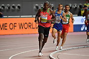 Timothy Cheruiyot (KEN) wins the 1,500m in 3:29.26 during the IAAF World Athletics Championships, Sunday, Oct.. 6, 2019, in Doha, Qatar. (Jiro Mochizuki/Image of Sport)