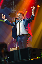 © Licensed to London News Pictures. 22/08/2014. Reading, UK.   Gerard Way performing live at Reading Festival 2014 on Friday, the opening day, in his first solo shows.  Gerard Arthur Way was the lead vocalist and co-founder of the band My Chemical Romance from its formation in November 2001 until its split in March 2013.   Photo credit : Richard Isaac/LNP