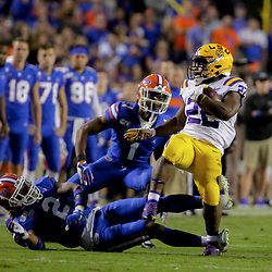 Oct 12, 2019; Baton Rouge, LA, USA; Florida Gators defensive back Brad Stewart Jr. (2) and defensive back CJ Henderson (1) tackle LSU Tigers running back Clyde Edwards-Helaire (22) during the first half at Tiger Stadium. Mandatory Credit: Derick E. Hingle-USA TODAY Sports