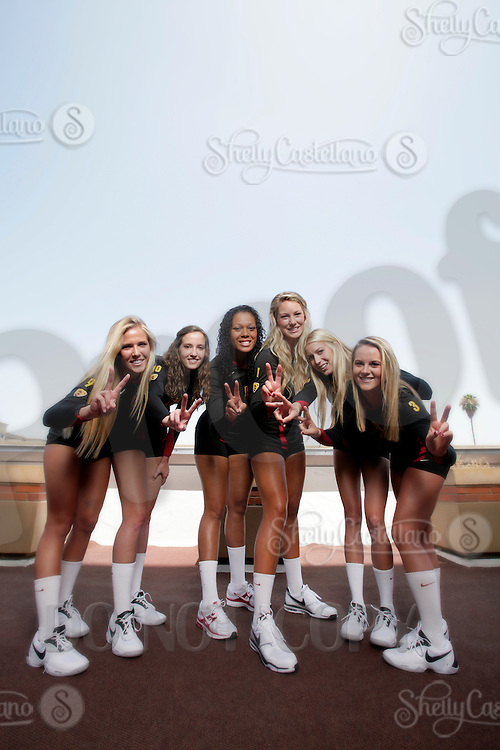 10 August 2010:  Freshman teammates  on the Pac-10 NCAA College Women's Volleyball team for the USC Trojans Women of Troy photographed at the Galen Center on Campus in Southern California.  Sam Hirschmann, Sara Shaw, Falyn Fonoimoana, Alexis Olgard, Kirby Burnham, Natalie Hagglund Fight On. .Images are for Personal use only.  No Model Release, No Property Release, No Commercial 3rd Party use. .Photo Credit should read: ©2010ShellyCastellano.com