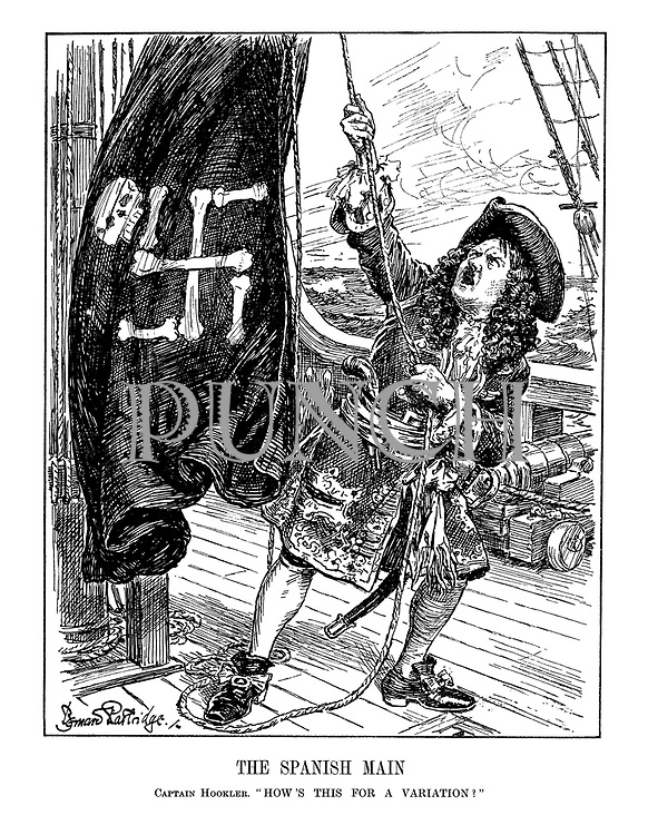 """The Spanish Main. Captain Hookler. """"How's this for a variation!"""" (pirate Adolf Hitler raises his main sail with its skull and swastika cross bones)"""