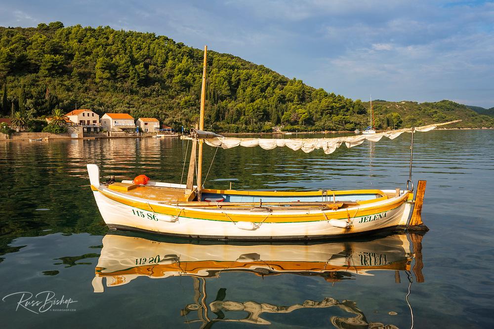 Fishing boat in the bay at Sipanska Luka, Sipan Island, Dalmatian Coast, Croatia