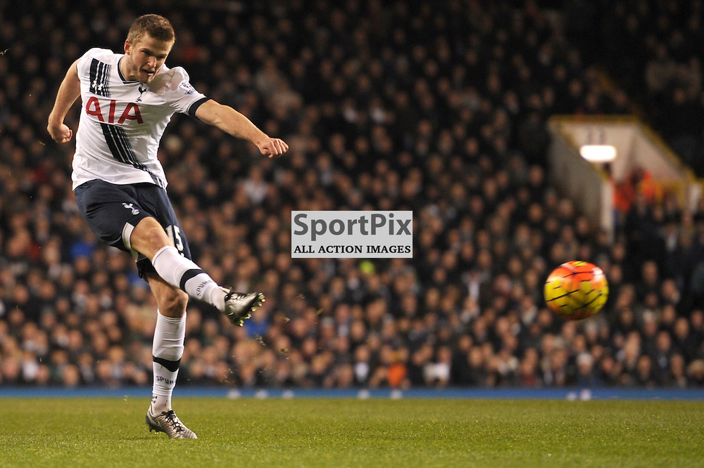 Tottenhams Eric Dier gets a shot away during the Tottenham v Leciester City match in the Barclays Premier League on the 13th January 2016.