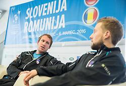 Grega Zemlja and Tom Kocevar-Desman during press conference of Slovenian Men Tennis Team for Davis Cup Romania vs Slovenia competition, on February 24, 2016 in Kristalna palaca, Ljubljana, Slovenia. Photo by Vid Ponikvar / Sportida