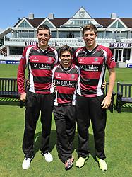 Somerset's Jamie Overton, Johann Myburgh and Craig Overton - Photo mandatory by-line: Harry Trump/JMP - Mobile: 07966 386802 - 03/06/15 - SPORT - CRICKET - Somerset T20 Squad - The County Ground, Taunton, England.