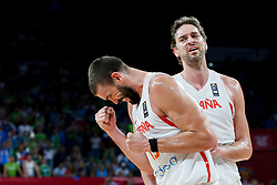 Marc Gasol of Spain and Pau Gasol of Spain during basketball match between National Teams of Slovenia and Spain at Day 15 in Semifinal of the FIBA EuroBasket 2017 at Sinan Erdem Dome in Istanbul, Turkey on September 14, 2017. Photo by Vid Ponikvar / Sportida
