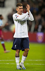 LONDON, ENGLAND - Wednesday, January 29, 2020: Liverpool's Roberto Firmino celebrates after the FA Premier League match between West Ham United FC and Liverpool FC at the London Stadium. Liverpool won 2-0.  (Pic by David Rawcliffe/Propaganda)