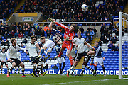 Fulham goalkeeper Marcus Bettinelli saves Birmingham City defender Jonathan Spector' header during the Sky Bet Championship match between Birmingham City and Fulham at St Andrews, Birmingham, England on 19 March 2016. Photo by Alan Franklin.