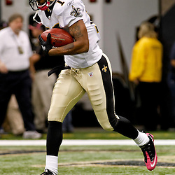 October 3, 2010; New Orleans, LA, USA; New Orleans Saints wide receiver Robert Meachem (17) during warm ups prior to kickoff of a game between the New Orleans Saints and the Carolina Panthers at the Louisiana Superdome. Mandatory Credit: Derick E. Hingle