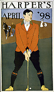 Harper's April 1898 Man in foreground playing golf. (poster) : colour. By Edward Penfield 1866-1925, artist.