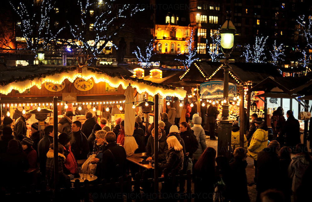EDINBURGH, UK - 23rd December 2010:  Shoppers hit the streets of Edinburgh today in what is expected to be the busiest day of the year for retailers in 2010.  Credit card company Visa Europe is expecting to process 26.5m transactions worth more than £1.2bn, as Britons rush to buy last-minute Christmas presents.  Pictured shoppers search for unusual gifts at the German Market at the Mound.  (Photograph: Callum Bennetts/MAVERICK)