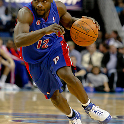 Dec 16, 2009; New Orleans, LA, USA;  Detroit Pistons guard Will Bynum (12) drives with the ball against the New Orleans Hornets during the second half at the New Orleans Arena. The Hornets defeated the Pistons 95-87. Mandatory Credit: Derick E. Hingle-US PRESSWIRE