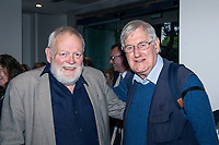 Michael Longley, poet, left, and Victor Patterson, media photographer, September, 2017, 201709078152<br /><br />Attendees at launch of a biography of Gerry Adams An Unauthorised Life by Belfast Journalist Malachi O'Doherty in the Ulster Museum, Belfast, N Ireland, UK, on 7th September 2017. 20170907<br /><br />Copyright Image from Victor Patterson, 54 Dorchester Park, <br />Belfast, UK, BT9 6RJ<br /><br />t1: +44 28 9066 1296 (from Rep of Ireland 048 9066 1296)<br />t2: +44 28 9002 2446 (from Rep of Ireland 048 9002 2446)<br />m: +44 7802 353836<br /><br />victorpatterson@me.com<br />www.victorpatterson.com<br /><br />Please see my Terms and Conditions of Use at VICTORPATTERSON.COM. It is IMPORTANT that you familiarise yourself with them.<br /><br />Images used on the Internet must be visibly watermarked i.e. ©VICTORPATTERSON.COM within the body of the image and copyright metadata must not be deleted. Images used on the Internet have a size restriction of 4kbs and are chargeable at the then current NUJ rates.<br /><br />This image is only available for the use of the download recipient i.e. television station, newspaper, magazine, book publisher, etc, and must not be passed on to any third party. It is also downloaded on condition that each and every usage is notified within 7 days to victorpatterson@me.com<br /><br />The right of Victor Patterson to be identified as the author is asserted in accordance with The Copyright Designs And Patents Act (1988).