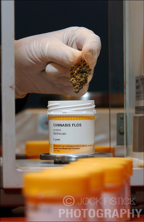 A pharmacist in Rotterdam, the Netherlands, prepares prescriptions of medical cannabis. The Netherlands has legalized cannabis for medical use and has made the drug available at local pharmacies with a doctors prescription. The government has enlisted official growers so the quality and potency can be strictly monitored. Patients suffering from diseases such as Multiple Sclerosis, Cancer, AIDS, and Glaucoma, to name a few, can obtain a doctors prescription for the drug. (Photo © Jock Fistick)
