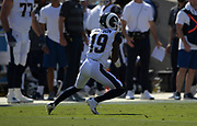 Los Angeles Rams wide receiver JoJo Natson (19) catches the ball during an NFL football game against the San Francisco 49ers, Sunday, Oct. 13, 2019, in Los Angeles. The 49ers defeated the Rams 20-7. (Dylan Stewart/Image of Sport)