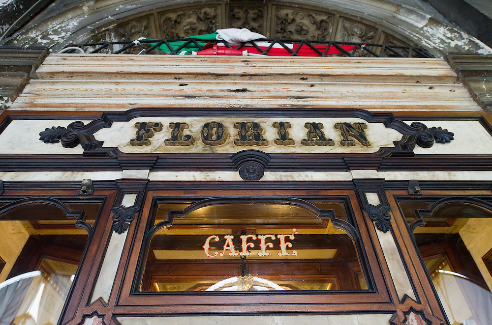 VENICE, ITALY - DECEMBER 02:  A detailed view of the logo and name of Caffe Florian is seen on December 2, 2011 in Venice, Italy.The Venetian coffee houses have a  long standing history, established at the beginning of 1700 around St. Mark Square have been the centre of cultural meeting and innovations for centuries and served customers like Dickens, Goethe, Casanova and Lord Byron. San Marco is one of the six sestieri of Venice, lying in the heart of the city.