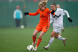 Anna van den Heiligenberg of Netherlands vs Urska Zganec of Slovenia during football match between Women national teams of Slovenia and Netherlands in 4th Round of EURO 2013 Qualifications, on November 19, 2011 in Ivancna Gorica, Slovenia. Netherlands defeated Slovenia 2-0. (Photo By Vid Ponikvar / Sportida.com)