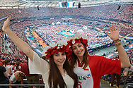 Poland, Warsaw - 2017 August 24: Polish supporters and general view of the stadium while opening ceremony during LOTTO EUROVOLLEY POLAND 2017 - European Championships in volleyball at Stadion PGE Narodowy on August 24, 2017 in Warsaw, Poland.<br /> <br /> Mandatory credit:<br /> Photo by © Adam Nurkiewicz<br /> <br /> Adam Nurkiewicz declares that he has no rights to the image of people at the photographs of his authorship.<br /> <br /> Picture also available in RAW (NEF) or TIFF format on special request.<br /> <br /> Any editorial, commercial or promotional use requires written permission from the author of image.
