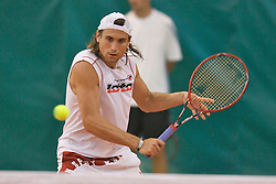 Liverpool, England - Thursday, June 14, 2007: David Ferrer (ESP) practices at the indoor court at the David Lloyd Centre on day three of the Liverpool International Tennis Tournament. For more information visit www.liverpooltennis.co.uk. (Pic by David Rawcliffe/Propaganda)