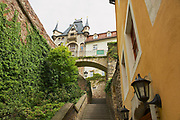 MEISSEN, GERMANY - MAY 22, 2010: View to the narrow street with staircase in Meissen, Germany.
