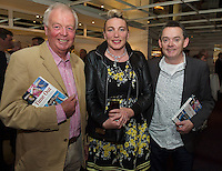 "Ralph O'Gorman with Paul and Mary Grealish  at the launch of Ronan Scully's New book ""Time Out"" An Innovative collaboration of words, reflections and stories of goodness, tenderness and positivity for all our lives combine to great effect in this new publication published by Ballpoint Press in aid of Self Help Africa and `The Irish Guide dogs for the Blind  at Hotel Meyrick in Galway. Picture:Andrew Downes"