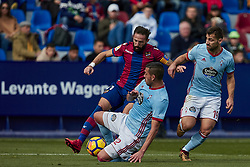 January 14, 2018 - Valencia, Valencia, Spain - Morales (C) of Levante UD competes for the ball with Gustavo Cabral (bottom) and Jonny of Real Club Celta de Vigo during the La Liga game between Levante UD and Real Club Celta de Vigo at Ciutat de Valencia stadium on January 14, 2018 in Valencia, Spain  (Credit Image: © David Aliaga/NurPhoto via ZUMA Press)