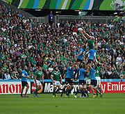 Ireland second row and captain Paul O'Connel winning a lineout for Ireland during the Rugby World Cup Pool D match between Ireland and Italy at the Queen Elizabeth II Olympic Park, London, United Kingdom on 4 October 2015. Photo by Matthew Redman.
