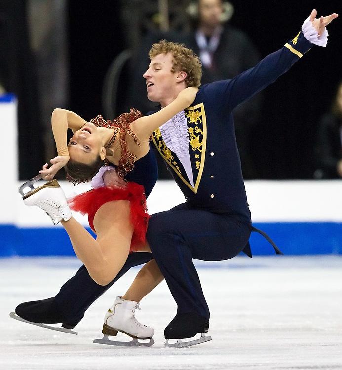 Lubov Iliushechkina  and Nodari Maisuradze of Russia skate their short program at Skate Canada International, October 28, 2011.<br /> AFP PHOTO/Geoff Robins