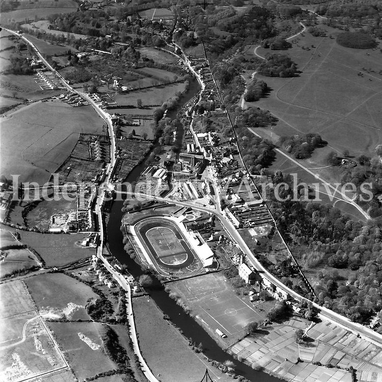 A108 Chapelizod. Source E.H. 15/06/51 (Part of the Independent Newspapers Ireland/NLI collection.)<br /> <br /> <br /> These aerial views of Ireland from the Morgan Collection were taken during the mid-1950's, comprising medium and low altitude black-and-white birds-eye views of places and events, many of which were commissioned by clients. From 1951 to 1958 a different aerial picture was published each Friday in the Irish Independent in a series called, 'Views from the Air'.<br /> The photographer was Alexander 'Monkey' Campbell Morgan (1919-1958). Born in London and part of the Royal Artillery Air Corps, on leaving the army he started Aerophotos in Ireland. He was killed when, on business, his plane crashed flying from Shannon.