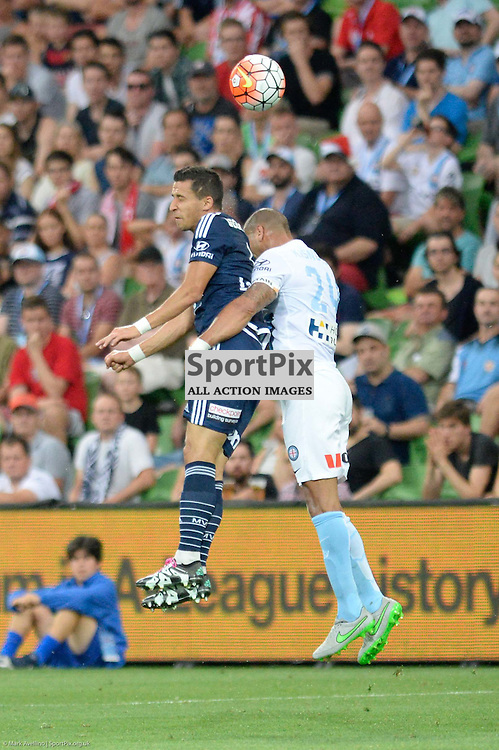 Daniel Georgievski of Melbourne Victory, Patrick Kisnorbo of Melbourne City - Hyundai A-League, 19th December 2015, RD11 match between Melbourne City FC v Melbourne Victory FC at Aami Park in a 2:1 win to City in front of a 23,000+ crowd. Melbourne Australia. © Mark Avellino | SportPix.org.uk