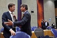Nederland. Den Haag, 27 oktober 2010.<br /> De Tweede Kamer debatteert over de regeringsverklaring van het kabinet Rutte.<br /> Rutte en Verhagen<br /> Kabinet Rutte, regeringsverklaring, tweede kamer, politiek, democratie. regeerakkoord, gedoogsteun, minderheidskabinet, eerste kabinet Rutte, Rutte1, Rutte I, debat, parlement<br /> Foto Martijn Beekman