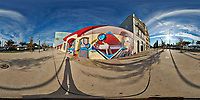 Mirror Ball Building Mural. 360 Degree Panorama. Composite of 38 images taken with a Nikon D850 camera and 8-15 mm fisheye lens (ISO 64, 15 mm, f/16, 1/100 sec). Raw images processed with Capture One Pro and Auto Pano Giga.