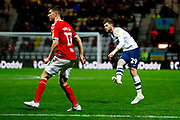 Preston North End forward Tom Barkhuizen (29) scores a goal to make the score 2-1 during the EFL Cup match between Preston North End and Middlesbrough at Deepdale, Preston, England on 25 September 2018.