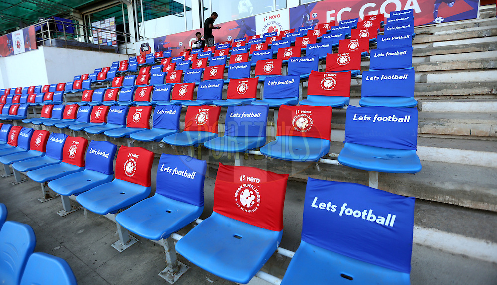 Spectators seat during match 39 of the Indian Super League (ISL) season 2  between FC Goa and Mumbai City FC held at the Jawaharlal Nehru Stadium, Fatorda, Goa, India on the 17th November 2015.<br /> <br /> Photo by Sandeep Shetty / ISL/ SPORTZPICS