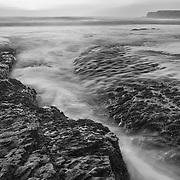 Davenport Tidepools -  Sunset - Black & White
