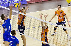 Dejan Vincic, Matej Vidic and Andrej Flajs of ACH vs Joppe Paulides and Ryan Ammerman of Knack Roeselare during volleyball match between ACH Volley (SLO) and Knack Roeselare (BEL) at Quarterfinals of CEV Challenge Cup 2011/2012, on February 8, 2012 in Arena Tivoli, Ljubljana, Slovenia. ACH Volley defeated Knack Roeselare 3-0. (Photo By Grega Valancic / Sportida.com)
