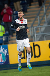 Falkirk's Rory Loy cele scoring their second goal.<br /> Falkirk 4 v 1 Livingston, Scottish Championship game played today at the Falkirk Stadium.<br /> &copy;Michael Schofield.