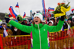 Mother of Zan Kosir of SLovenia celebrates after her son placed second during the Men's Parallel Giant Slalom at FIS World Championships of Snowboard and Freestyle 2015, on January 23, 2015 at the WM Piste in Lachtal, Austria. Photo by Vid Ponikvar / Sportida