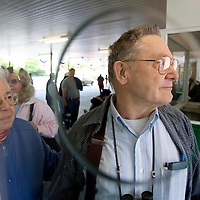 (PPAGE1) Monmouth Park 5/13/2006  Stanley Bukowski and Joan Newsom are first in line at Monmouth Park for opening day.  They are both from Whiting. Michael J. Treola Staff Photographer.....MJT