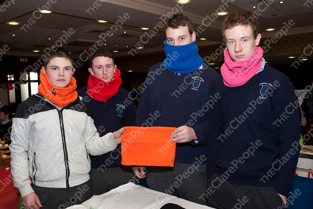 8/3/2012  Attending the Co Enterprise Awards in the West County Hotel last Thursday were Padrino Snoods a company run by Michael Collins, Daniel Cunnane, Matthew Poley and Anthony Kelly students at St Anne's, Killaloe.<br /> Picture Liam Burke/Press 22