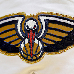 Oct 23, 2013; New Orleans, LA, USA; A detail of the New Orleans Pelicans logo during  preseason game against the Miami Heat ew Orleans Arena. The Heat defeated the Pelicans 108-95. Mandatory Credit: Derick E. Hingle-USA TODAY Sports