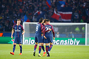 Layvin Kurzawa (psg) scored the third goal, celebration with Adrien Rabiot (psg) and Edinson Roberto Paulo Cavani Gomez (psg) (El Matador) (El Botija) (Florestan), Julian Draxler (PSG) smiled during the UEFA Champions League, Group B, football match between Paris Saint-Germain and RSC Anderlecht on October 31, 2017 at Parc des Princes stadium in Paris, France - Photo Stephane Allaman / ProSportsImages / DPPI