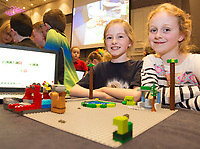 Isabella Teahon and Avery Hendrickson  Garedenfields NS with their  project at the Jnr Lego League organized through schools by the Galway Education Centre at The Radisson blu hotel<br />  Photo: Andrew Downes,  xposure